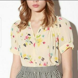 UO Pins & Needles Paint Sheer Blouse